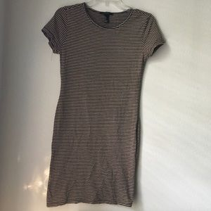 Forever 21 Brown and Black Stripe T-Shirt Dress